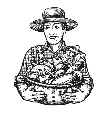 Happy farmer holds a wicker basket full of fresh vegetables. Farm, harvest, agriculture concept. Sketch vector illustration