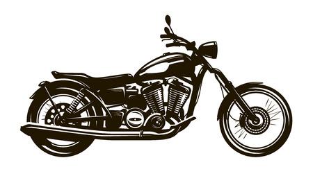 Motocicleta retro. Ilustración de vector de silueta Ilustración de vector