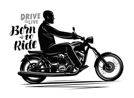 Motard conduisant une moto. Moto, concept de moteur. Conception typographique Vecteurs