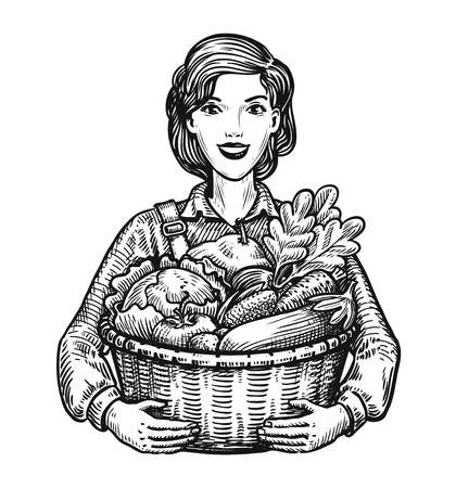 Beautiful girl or happy farmer holding a wicker basket full of vegetables. Agriculture, horticulture, farm concept. Hand-drawn sketch vector illustration Ilustracja