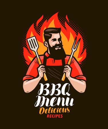 BBQ, parrillero. Diseño de menú para restaurante o cafetería. Ilustración vectorial
