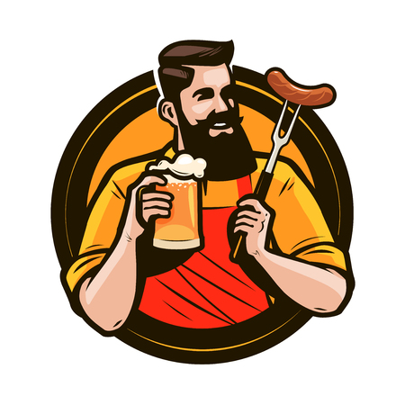 Happy man holding a mug of fresh beer. Brewery, pub, alcohol drink logo or label. Vector illustration