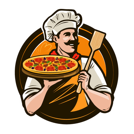 Pizzeria, fast food logo or label. Happy chef holding pizza and scapula in hands. Vector illustration