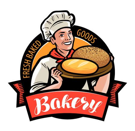 Panadería, panadería logo o etiqueta. Panadero feliz o cocinero con pan en mano. Ilustración vectorial