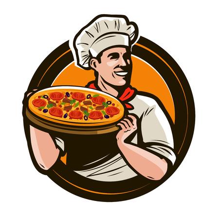 Chef tenant un plateau de pizza. Restauration rapide, restaurant, logo de pizzeria. Illustration vectorielle Banque d'images - 104022865