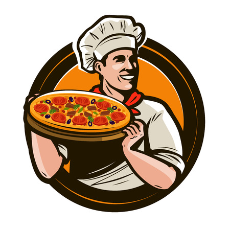 Chef holding a tray of pizza. Fast food, restaurant, pizzeria logo. Vector illustration