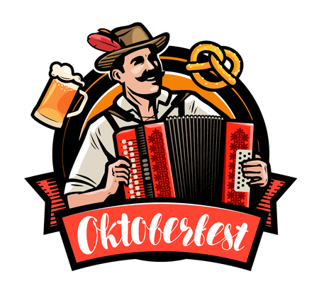Oktoberfest, beer festival. Happy man playing the accordion. Cartoon vector illustration