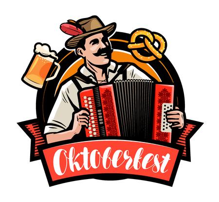 Oktoberfest, Bierfest. Glücklicher Mann, der das Akkordeon spielt. Karikaturvektorillustration