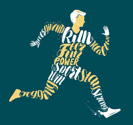 Jogging, fitness or run concept. Typographic design, vector illustration