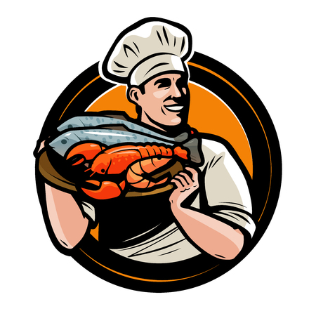 Seafood logo or label. Chef with tray of food. Vector illustration