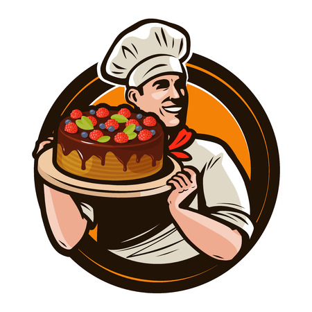 Pastry shop logo or label. Chef with cake on a tray. Cartoon vector illustration