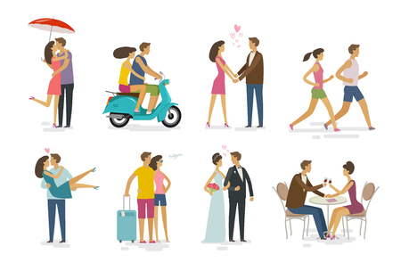 Loving couple, set of icons. Family, love concept. Cartoon vector illustration Vettoriali