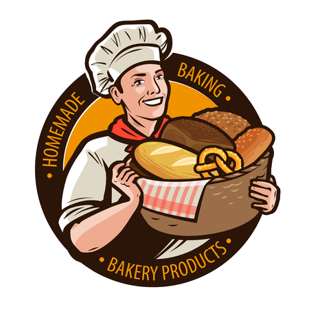 Bakery, bakeshop logo or label. Home baking, bread concept. Cartoon vector illustration