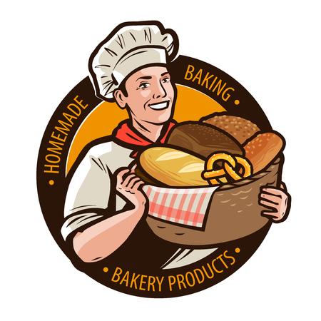Panetteria, logo bakeshop o etichetta. Dolci casalinghi, concetto di pane. Cartoon illustrazione vettoriale Logo