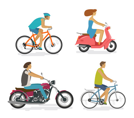 Transportation, trip, driving icon set. People rides by transport, concept. Cartoon vector illustration