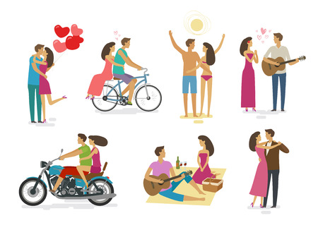 Loving couple, set of icons. Family, love concept. Cartoon vector illustration Vector Illustration