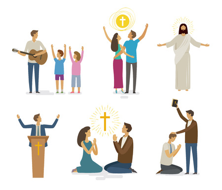 Worship, prayer, faith icon set. Religion concept. Vector illustration