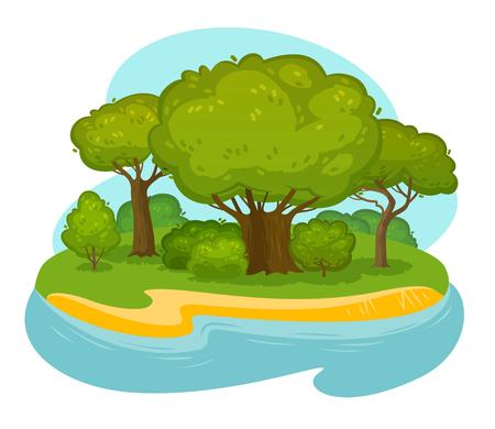Natuurlijk landschap, landschap. Milieu, natuurconcept. Cartoon vector illustratie Vector Illustratie