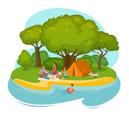 Happy family having a rest on a picnic outdoors. Cartoon vector illustration