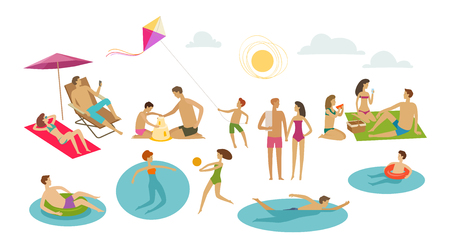people rest on beach. vacation, summer concept. cartoon vector illustration isolated on white background