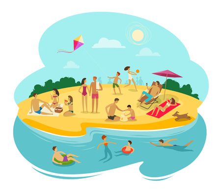 people rest on the beach. cartoon vector illustration isolated on white background