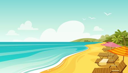 sea beach and sun loungers. seascape, vacation banner. cartoon vector