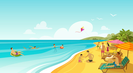 people rest on sea beach. vacation, travel banner. cartoon vector Ilustrace