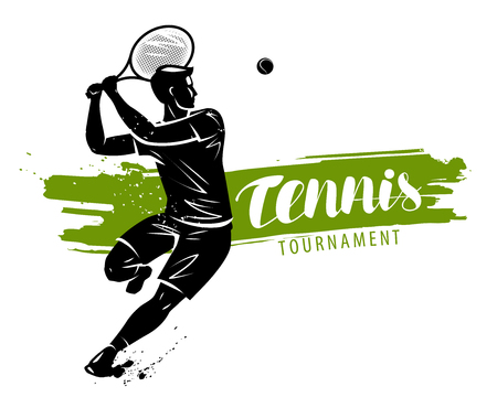 Tennis banner. Sport concept, vector illustration isolated on white background