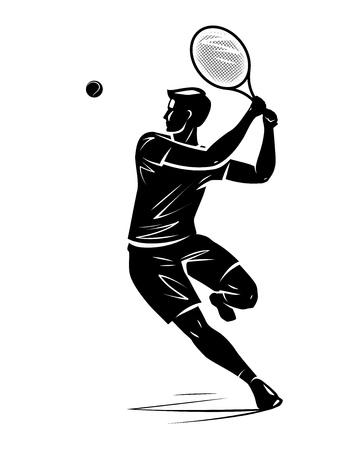 Tennis player, silhouette. Vector illustration isolated on white background