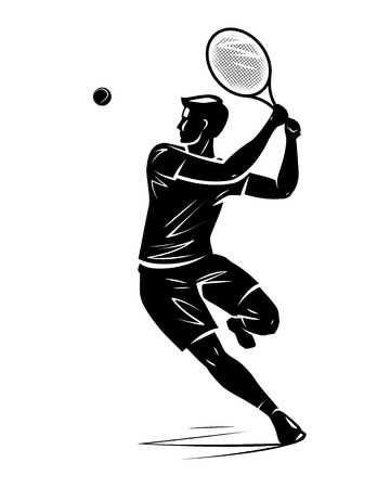 Tennis player, silhouette. Vector illustration Stock Photo