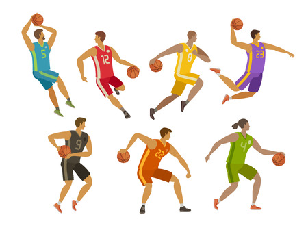 Basketball players. Sport concept. Cartoon vector illustration isolated on white background