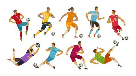 soccer players. sport concept. cartoon vector illustration isolated on white background
