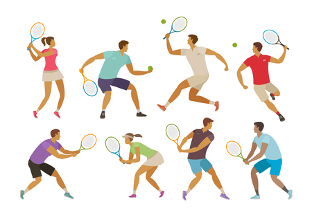 tennis player with tennis racket. sport concept. funny cartoon vector illustration isolated on white background Ilustrace