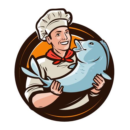 Cuoco allegro con pesce. Frutti di mare, logo alimentare o etichetta. Cartoon illustrazione vettoriale