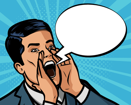 businessman is shouting loudly. Vector illustration in style comic pop art