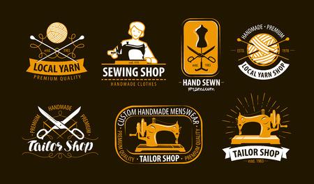 Schneiderei, Schneiderei Logo oder Etikett. Atelier, Stricksymbolsatz. Vektorillustration