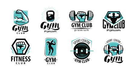Fitness, gym logo or label. Sport, bodybuilding concept. Vector illustration Logo