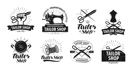 Tailor shop, yarn logo or label. Tailoring concept. Vector illustration