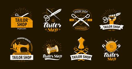 Tailoring, tailor shop logo or label. Atelier symbol set. Vector illustration Logo