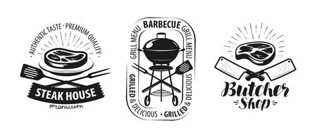 Barbecue, grill, slagerij logo of label. Voedsel concept vector