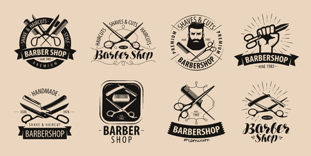 Barbershop, hairdressing salon logo or label. Vector illustration Vectores