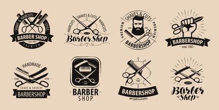 Barbershop, hairdressing salon logo or label. Vector illustration Ilustracja