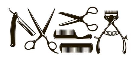 Barbershop items such as scissors, comb, razor, mechanical hair clipper Ilustrace