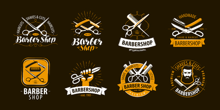 Barbershop, set of labels or emblems. Vector Vektorové ilustrace