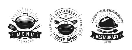 Restaurant, cafe logo or label. Emblems for menu design. Vector illustration