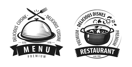 Restaurant logo or label. Emblems for menu design. Vector illustration