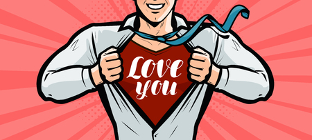 Handsome guy is explained in love, greeting card or banner. Vector illustration