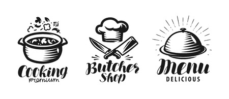 Cooking, butcher shop, menu logo or label. Food concept. Lettering vector illustration