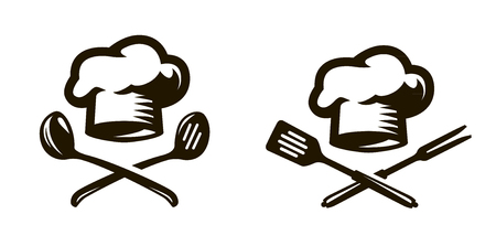 Cook, chef logo or icon. Labels for the menu of restaurant or cafe. Vector symbol Çizim