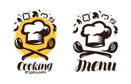 Cooking, cuisine logo. Labels for the menu of restaurant or cafe. Vector symbol Illustration